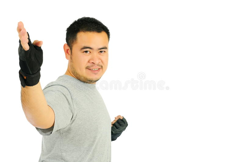 Карате человека в бое тела стоковое изображение rf