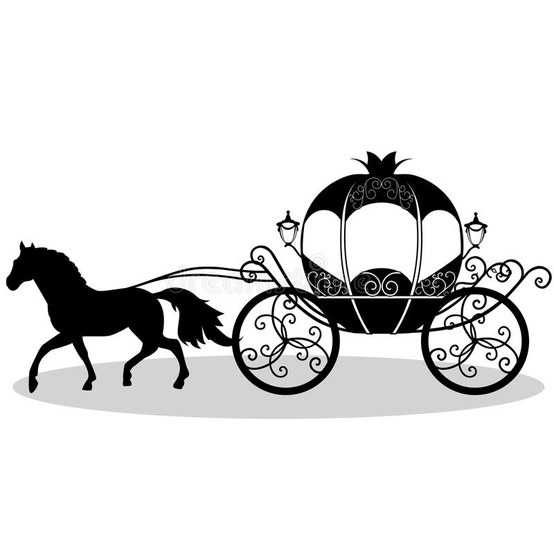 карета Экипаж свадьбы Винтажный экипаж с лошадью иллюстрация штока