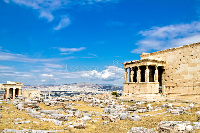 Кариатиды Erechtheum, акрополь, Афиныы, Греция стоковые изображения