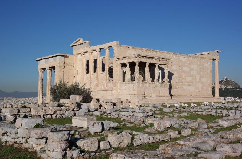 Кариатиды акрополя, Афин стоковая фотография