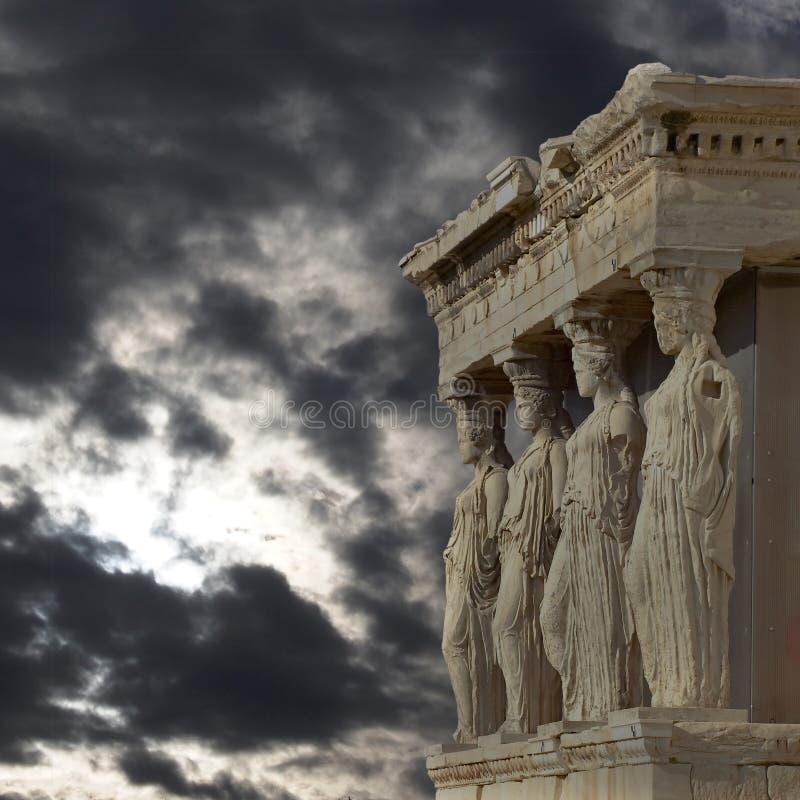Кариатиды, висок Афины erechtheum, Греция стоковые фотографии rf