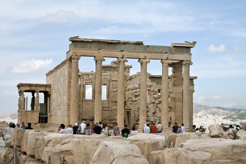 Кариатиды, висок erechtheum на акрополе Афин, Греции стоковые изображения rf