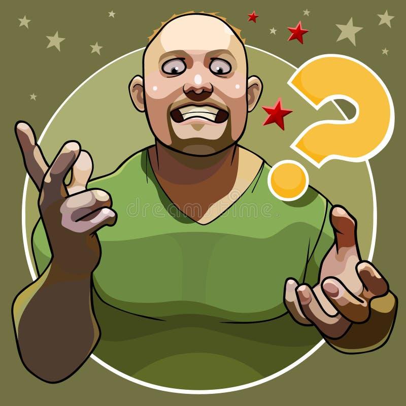 Карикатура большой человек эмоционально с жестами спрашивает иллюстрация вектора