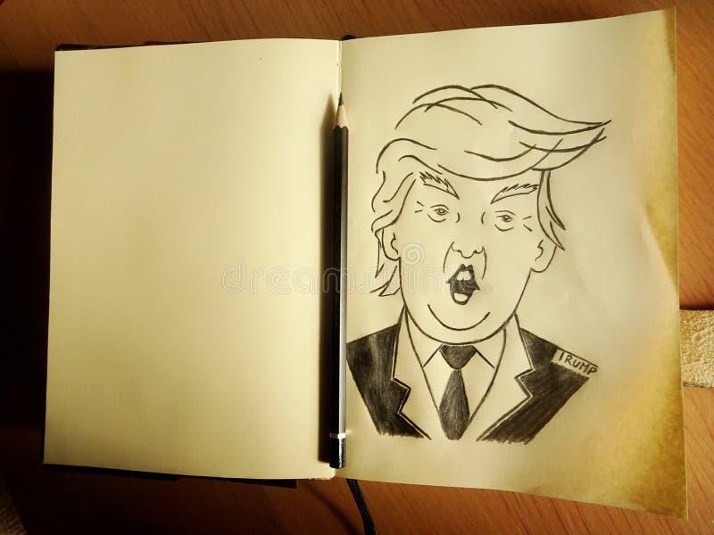 Карикатура Дональд Трамп иллюстрация штока