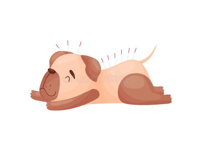 Карикатура миленькая собака на иглоукалывании Иллюстрация вектора на белом фоне бесплатная иллюстрация