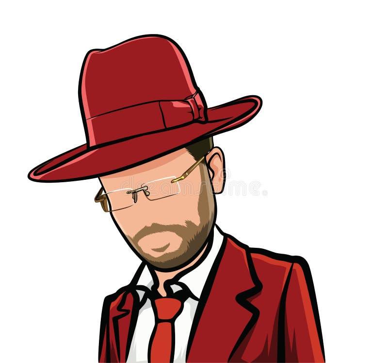Карикатура мультфильма большая голова, воплощение иллюстрация вектора