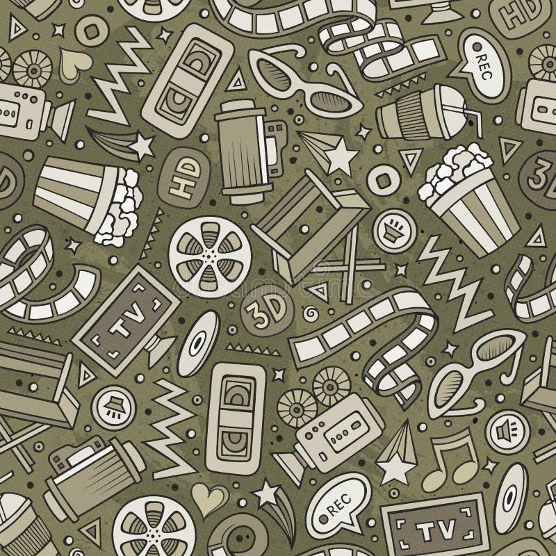 Карикатура, нарисованная ладонью, бесшовная модель стоковые фотографии rf