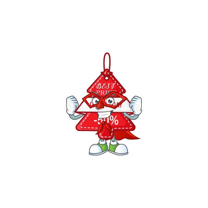Карикатура на christmas лучший ценник в костюме супергероя иллюстрация штока