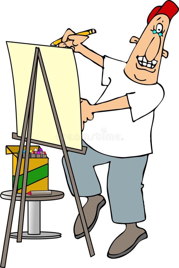 карикатура художника иллюстрация вектора