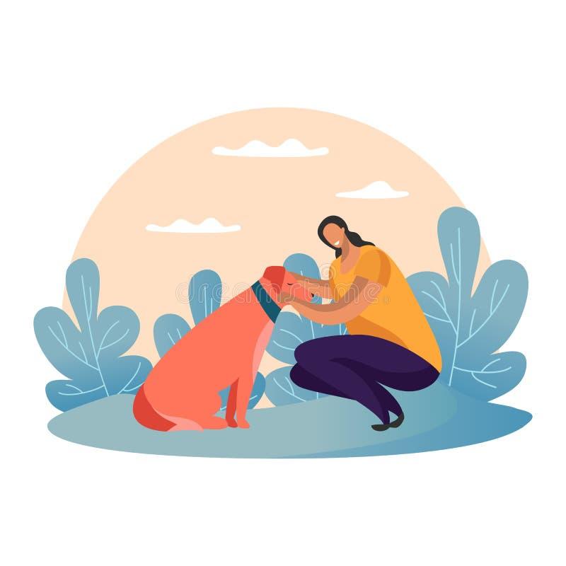 Карикатуристка гуляет с собакой в парке Девушка, питомец бесплатная иллюстрация