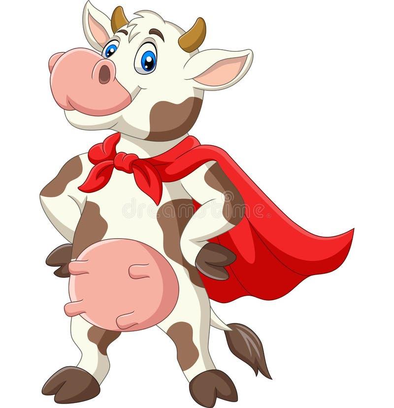Карикатурная супергероическая корова в красном плаще позирует иллюстрация вектора