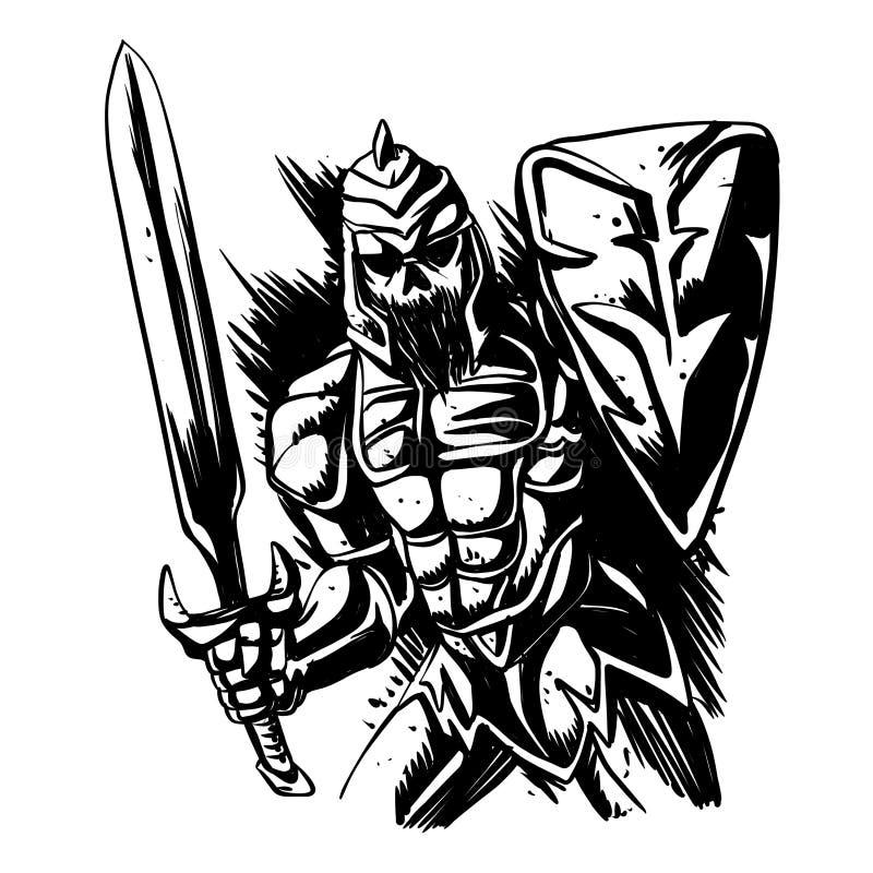Каркасная иллюстрация рыцаря черно-белая иллюстрация штока
