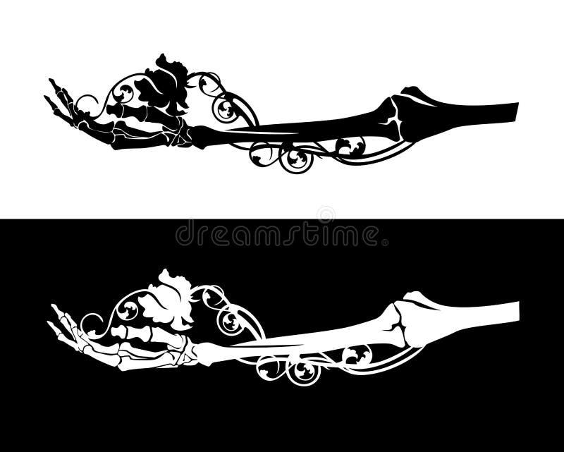 Каркасная рука и розовый дизайн силуэта вектора цветка иллюстрация штока