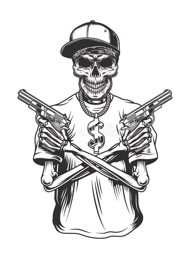 Каркасный гангстер с оружи иллюстрация вектора