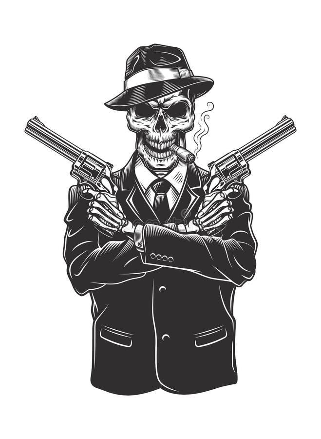 Каркасный гангстер с револьверами бесплатная иллюстрация