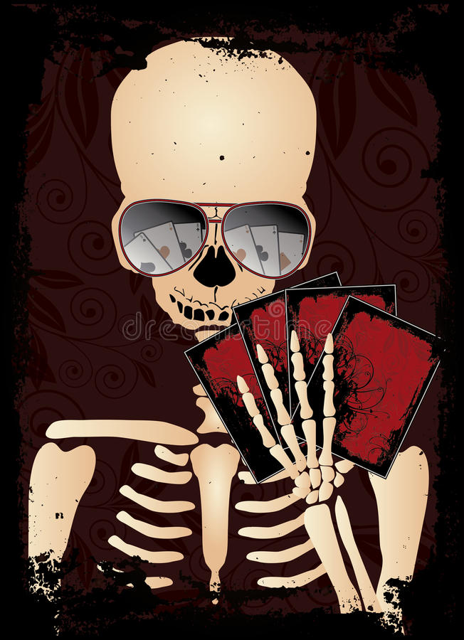 Каркасный картежник с покером солнечных очков иллюстрация штока