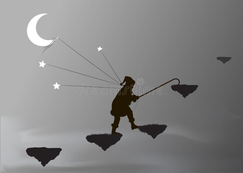 Карлик захватывает луну и звезды, иллюстрация вектора