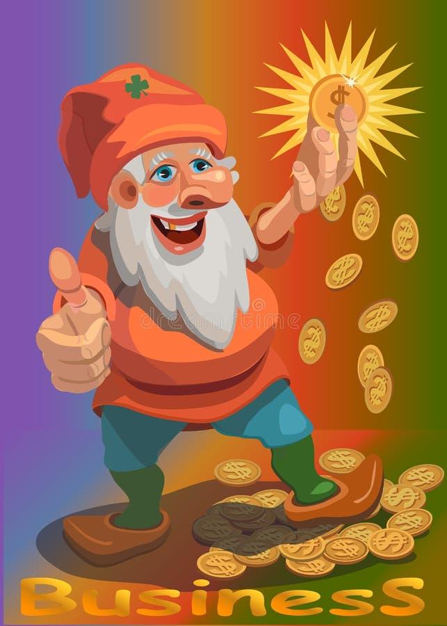 Карлик нашел золотая монета он увеличивает доход иллюстрация штока