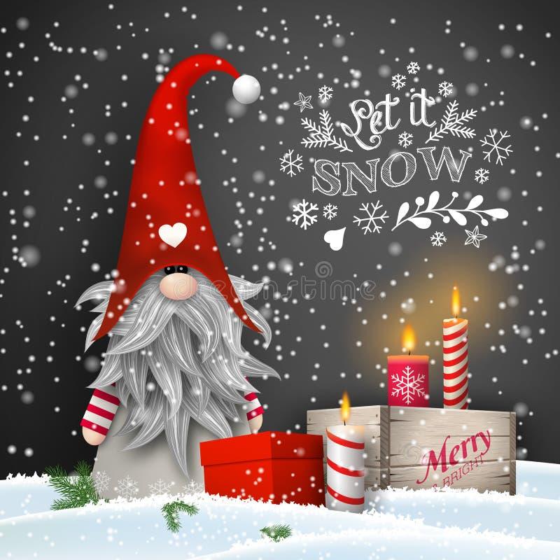 Карлик рождества с свечами и подарочными коробками на черной предпосылке иллюстрация штока