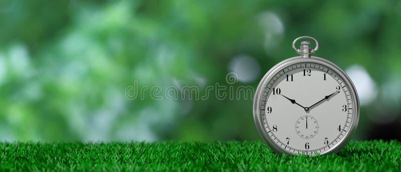 Карманный вахта изолированный на зеленой траве и зеленой абстрактной предпосылке, космосе экземпляра иллюстрация 3d иллюстрация вектора