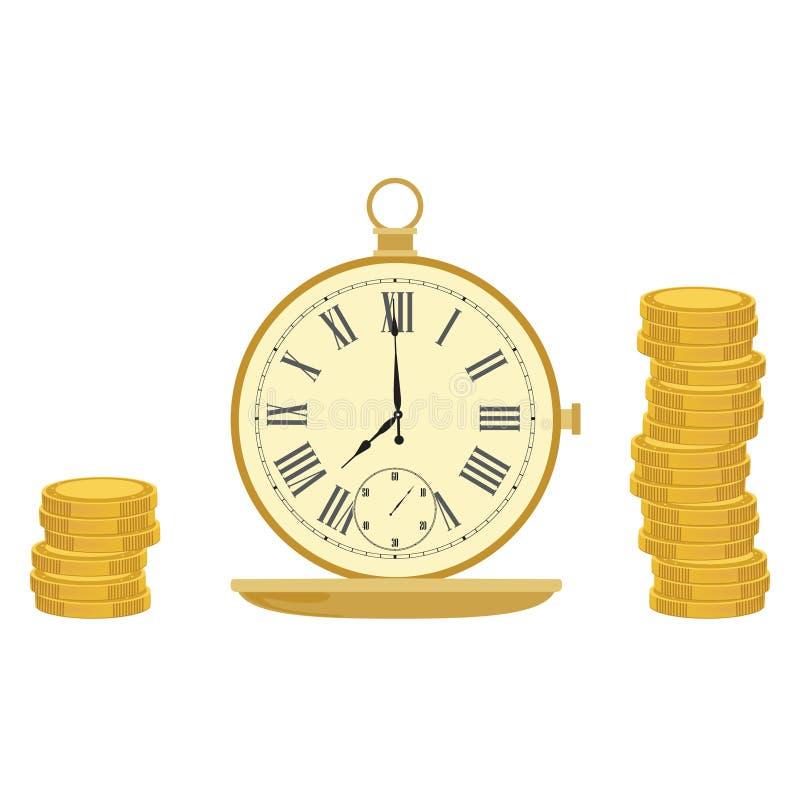 Карманный вахта и монетки иллюстрация вектора