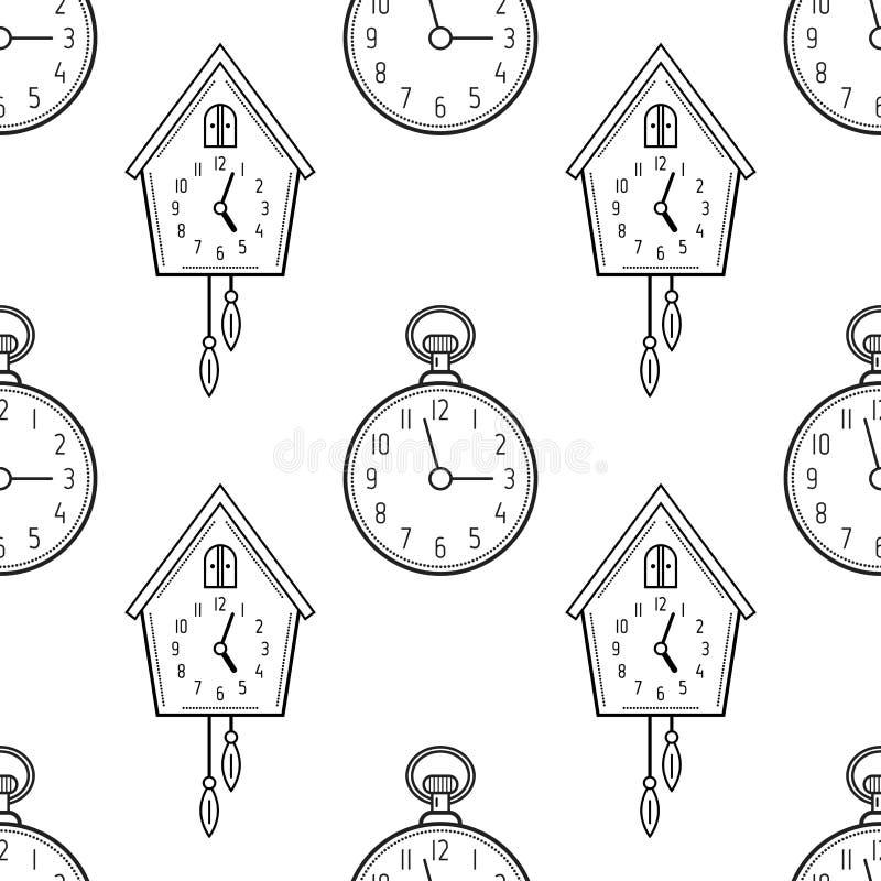 Карманный вахта и часы с кукушкой Черно-белая безшовная картина для книжка-раскрасок, страниц иллюстрация вектора