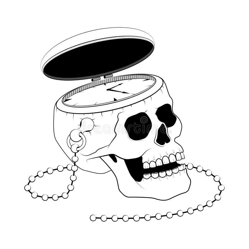 Карманный вахта с человеческим черепом, временем и концепцией смерти иллюстрация штока