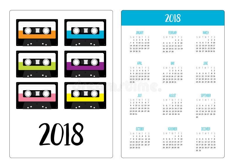 Карманный календарь 2018 год Неделя начинает воскресенье Пластичная кассета ленты звукозаписи Ретро комплект значка музыки Элемен иллюстрация вектора