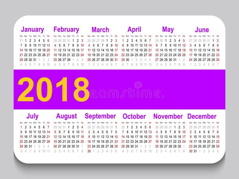карманный календарь 2018 Решетка календаря шаблона Горизонтальная ориентация Старты недели на воскресенье Белая предпосылка иллюстрация штока