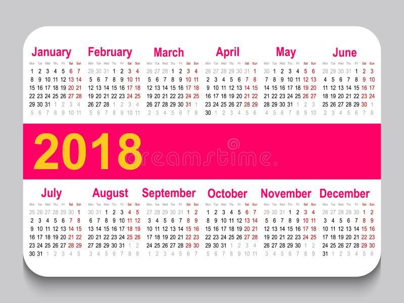 карманный календарь 2018 Решетка календаря шаблона Горизонтальная ориентация Старты недели на понедельнике Белая предпосылка иллюстрация штока