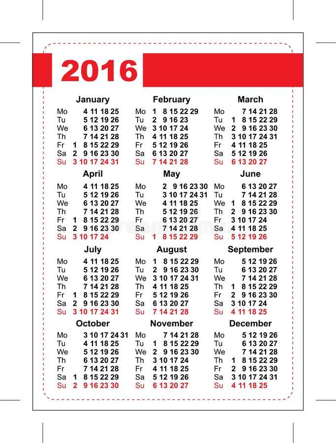 карманный календарь 2016 Решетка шаблона Вертикальная ориентация дней недели бесплатная иллюстрация