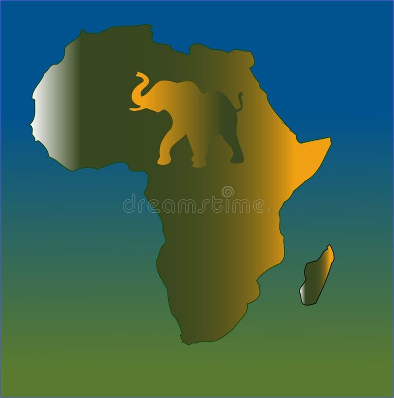 карта абстрактного слона Африки интегрированная иллюстрация штока