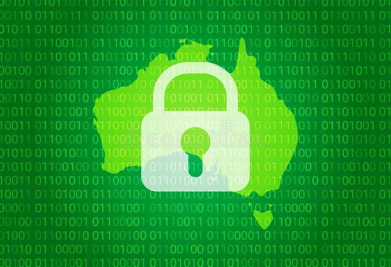 карта Австралии иллюстрация с предпосылкой замка и бинарного кода интернет преграждая, нападение вируса, уединение защищает иллюстрация штока