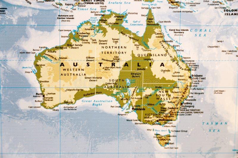 карта Австралии континентальная политическая стоковые фотографии rf