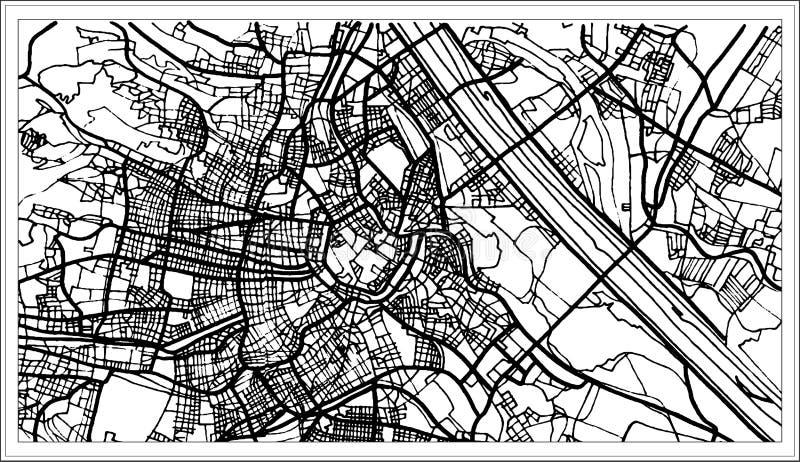 Карта Австрии вены в черно-белом цвете иллюстрация вектора