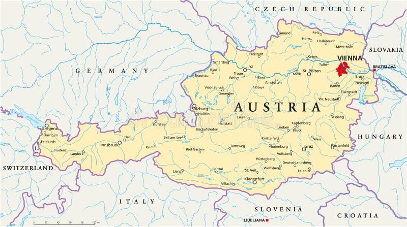 Карта Австрии политическая бесплатная иллюстрация