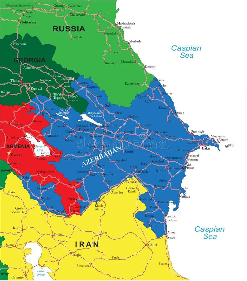 Карта Азербайджана иллюстрация вектора