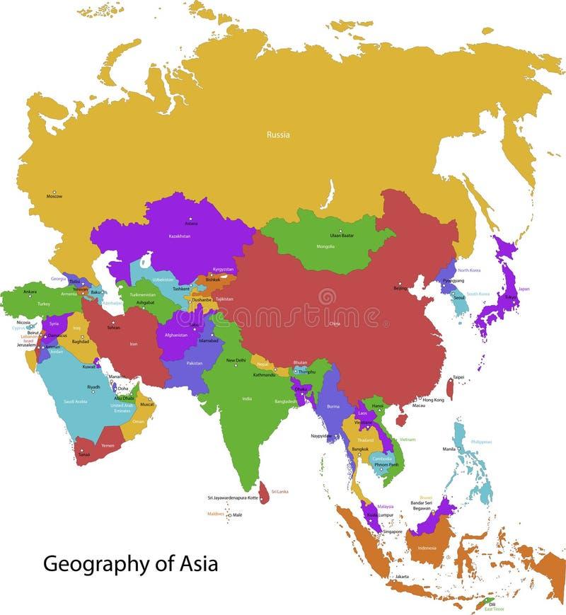 Карта Азии иллюстрация вектора