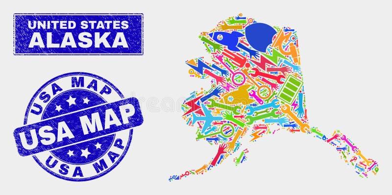 Карта Аляски технологии мозаики и огорчить печать карты США бесплатная иллюстрация