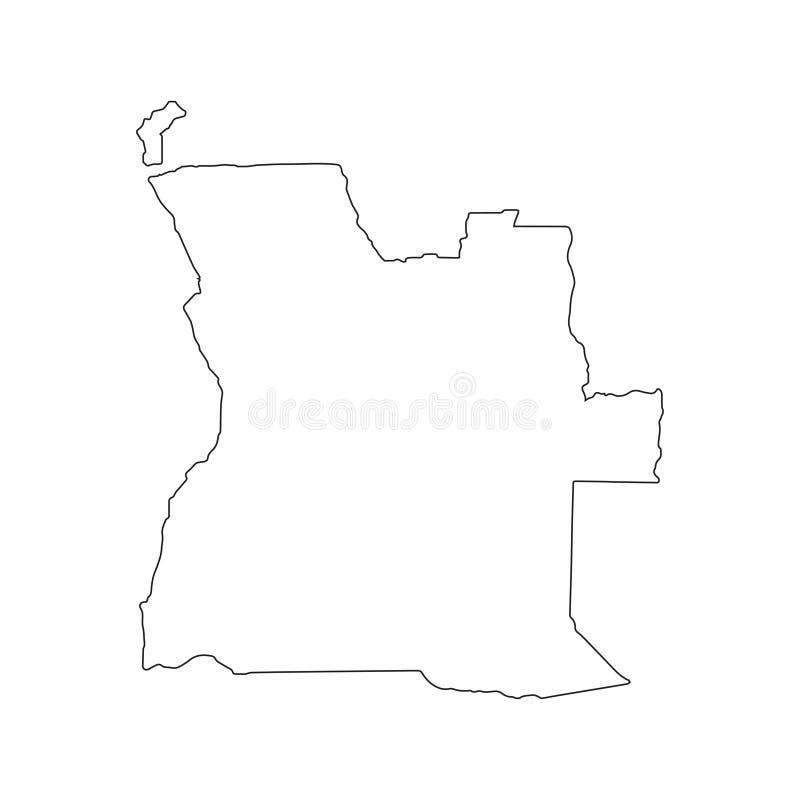 Карта Анголы линейная на белой предпосылке также вектор иллюстрации притяжки corel иллюстрация штока