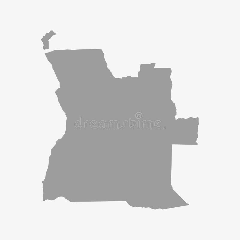 Карта Анголы в сером цвете на белой предпосылке иллюстрация вектора