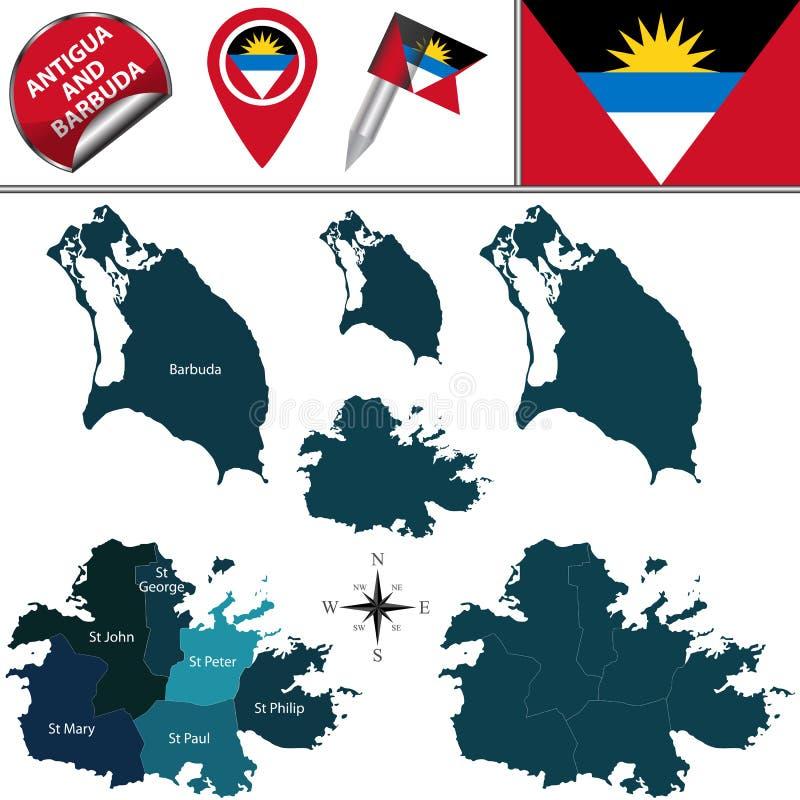 карта Антигуы barbuda иллюстрация штока