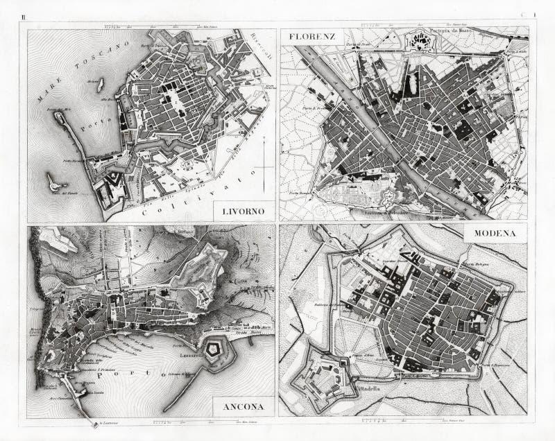 Карта 1874 антиквариатов Флоренса, Моденаа, Анконы и Ливорно стоковое фото