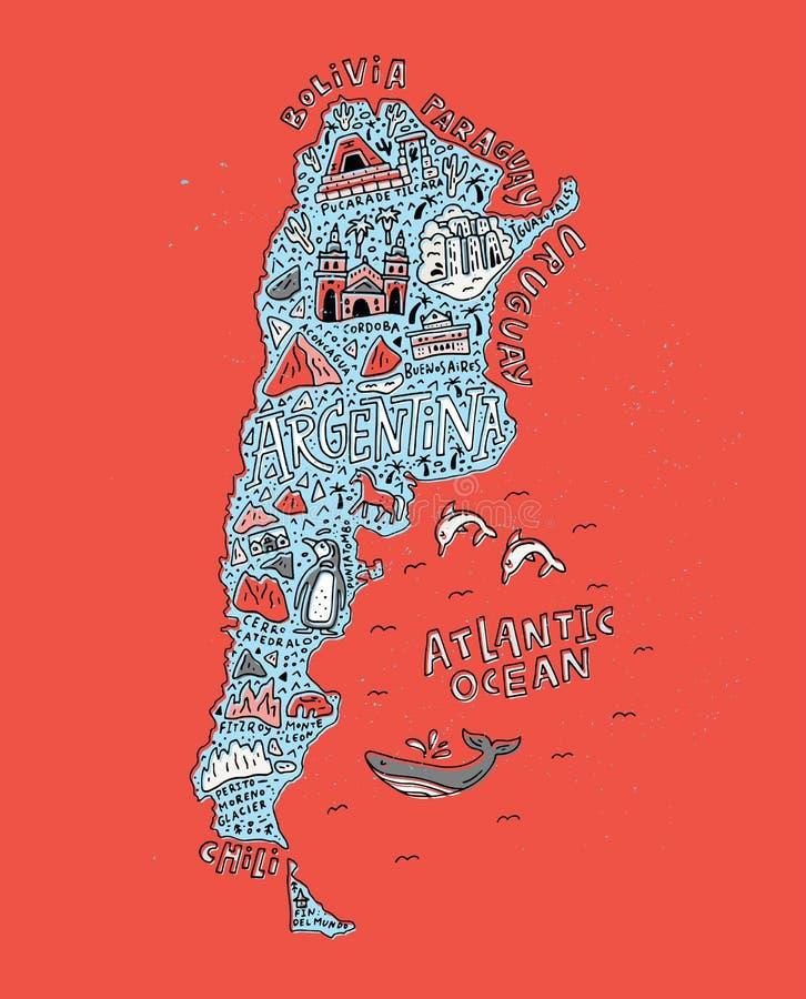 Карта Аргентина шаржа иллюстрация штока