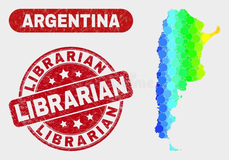 Карта Аргентины мозаики спектра и поцарапанный водяной знак библиотекаря бесплатная иллюстрация