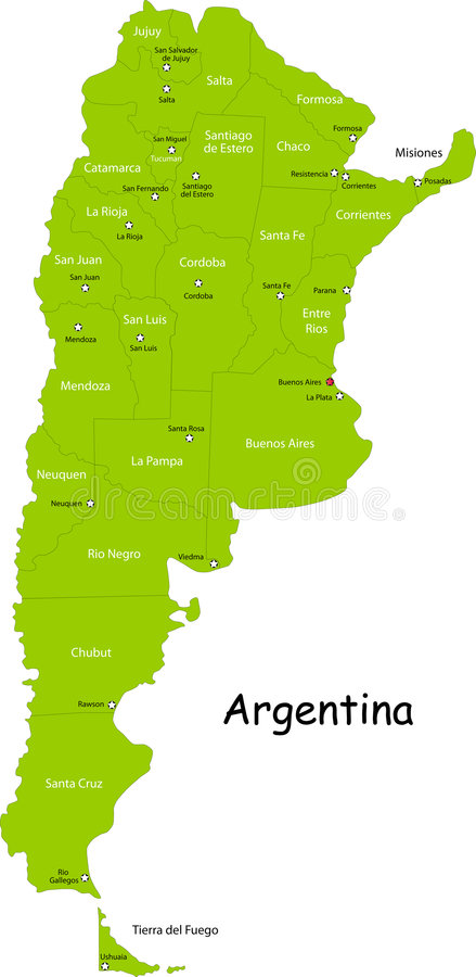 Карта Аргентины иллюстрация вектора