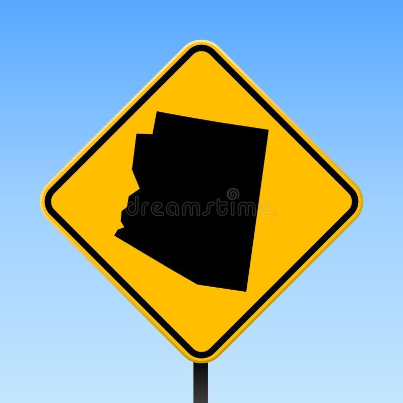 Карта Аризоны на дорожном знаке иллюстрация штока