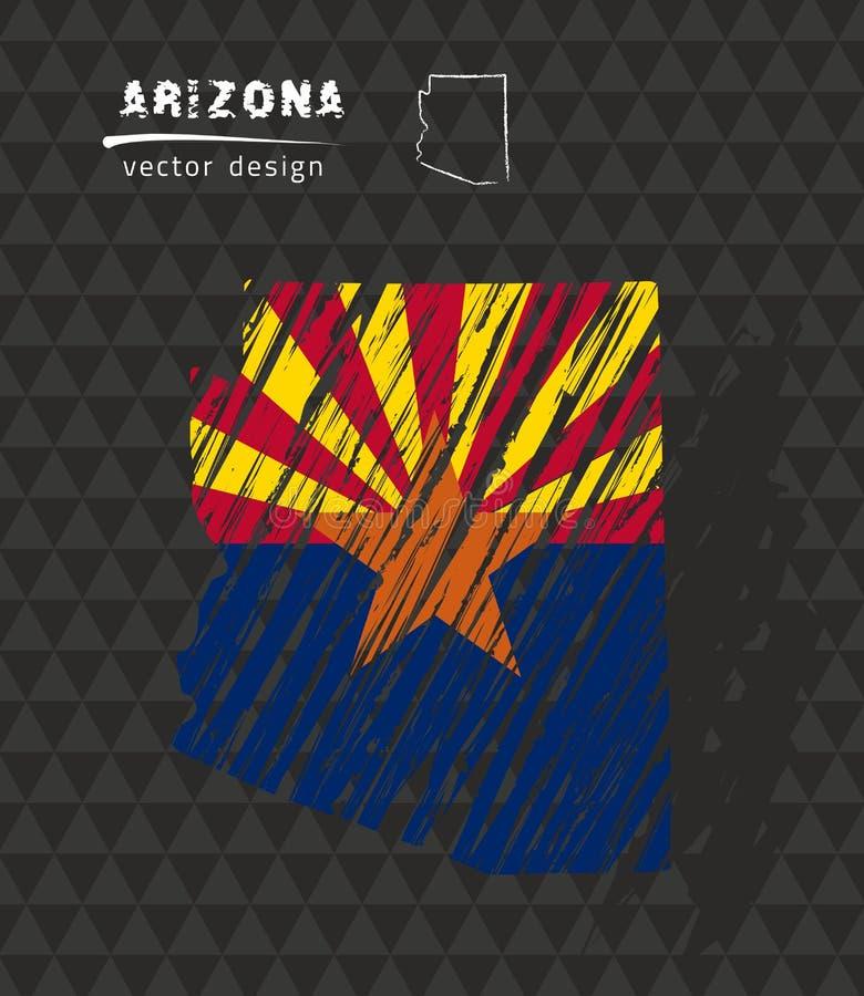Карта Аризоны с флагом внутрь на черной предпосылке Иллюстрация вектора эскиза мела иллюстрация штока