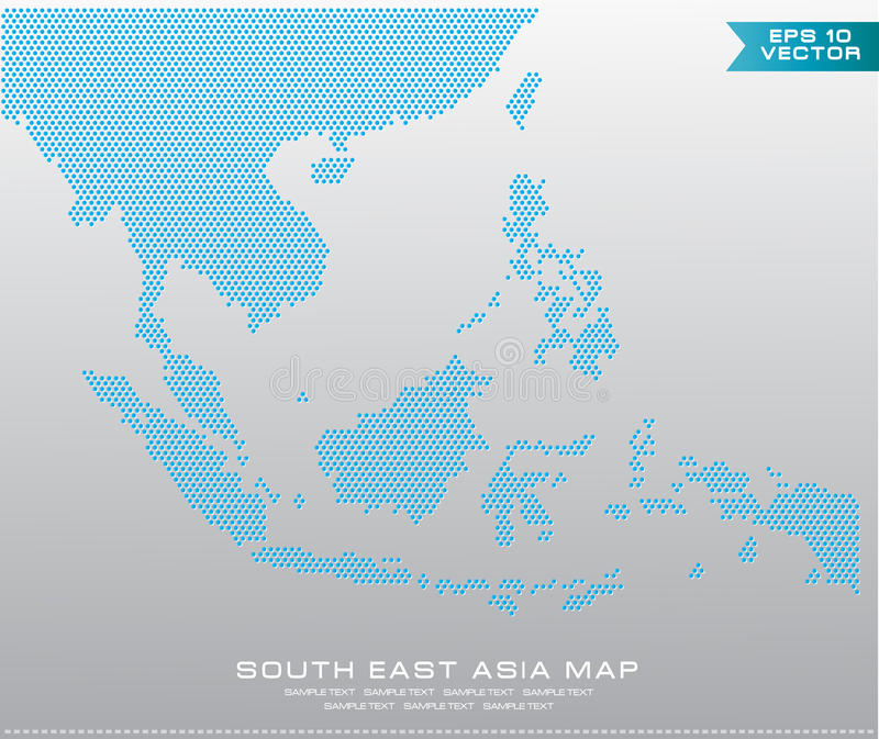 Карта АСЕАН поставила точки иллюстрация стиля, для предпосылки иллюстрация штока