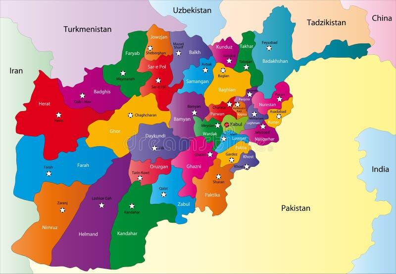 Карта Афганистана иллюстрация вектора